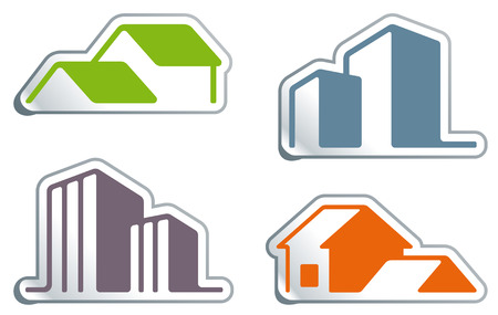 Simple symbols of real estate in the form of stickers Stock Vector - 7503120