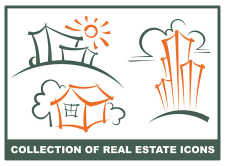 residential district: Real estate icons Illustration