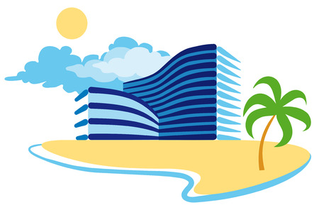 spa resort: icon of resort hotel Illustration
