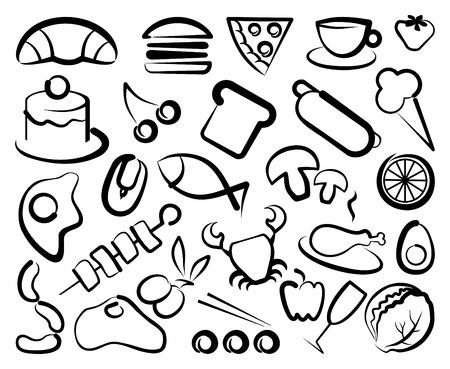 Eenvoudige pictogrammen van voedsel