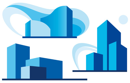 building real estate modern: Set of three urban icons Illustration