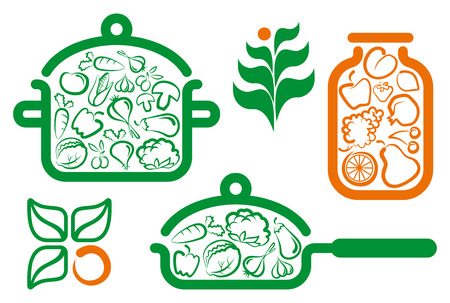 Symbols of preparation vegetarian food