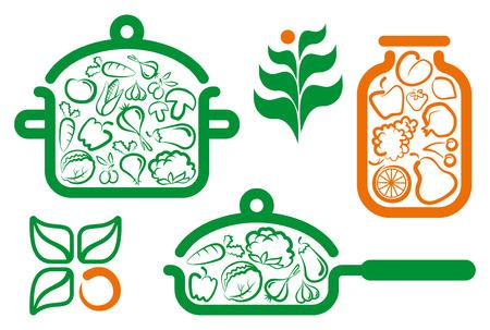 Símbolos de comida vegetariana de preparación