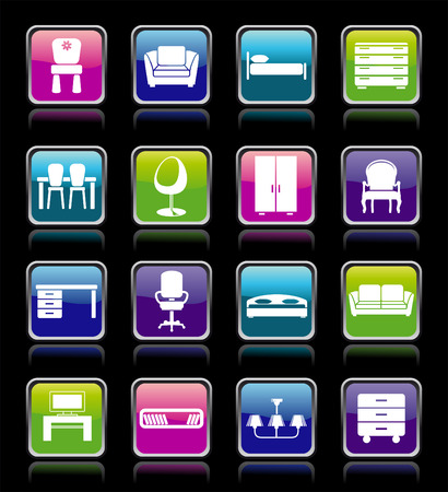 Set of furniture icons Stock Vector - 7876574
