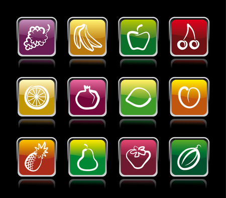 Buttons with images of fruit Stock Vector - 7876572