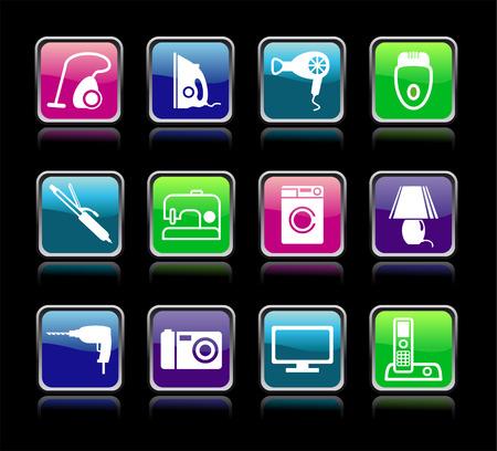 Set buttons of home appliances Vecteurs