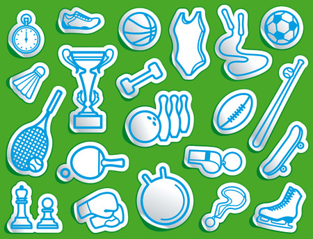 Simple sports icons in the form of stickers Stock Vector - 8200284