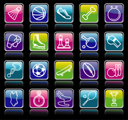 exercise equipment: Sports buttons Illustration