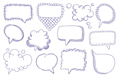Doodle sketch speech bubbles   Stock Vector - 8296491