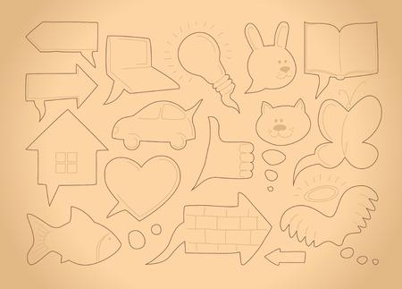 Doodle sketch speech bubbles Vector