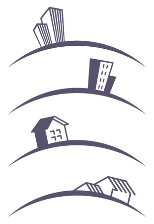Real estate symbols. Building icons Stock Vector - 8425928