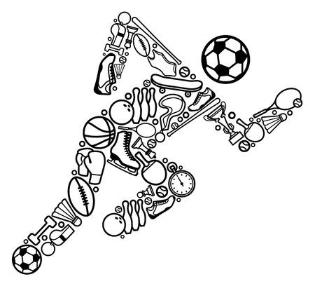 racket sport: Silueta de la ejecuci�n de la persona de s�mbolos de deportes