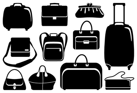 leren tas: Tassen en koffers icons set