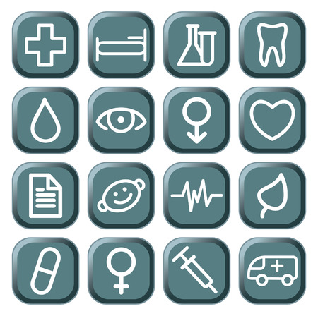 Buttons with medical symbols Stock Vector - 8575366