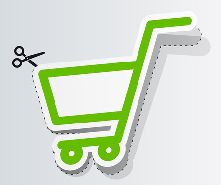 Label in form of cart Vector