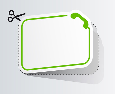 commercial painting: Blank white advertising coupon with phone symbol cut from sheet of paper