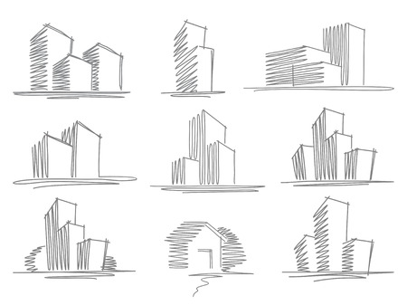 Sketches of buildings Ilustracja