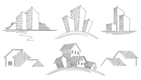 houses exterior: Sketches of buildings Illustration