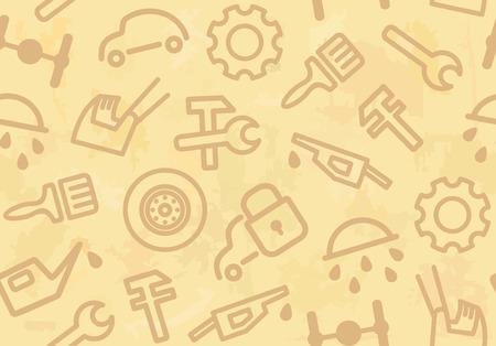 Bez szwu tła z samochodów osobowych i części zamienne  Ilustracje wektorowe