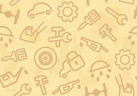 combustible: Seamless background with cars and spare parts  Illustration