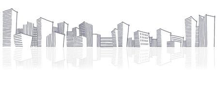 sketch: De schets van een skyline van de stad