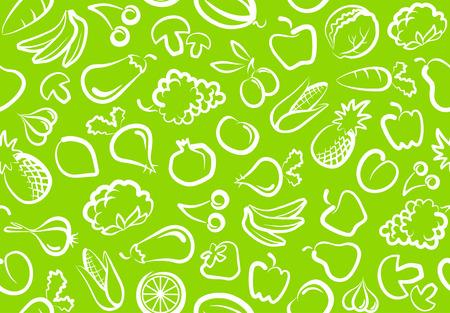 Sebze ve meyve ile sorunsuz arka plan Illustration