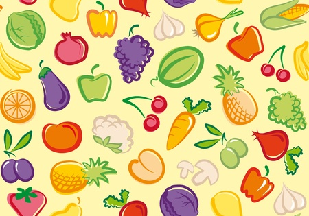 Seamless background with vegetables and fruit Vector