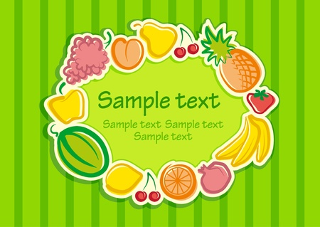 Background with a frame from fruit Vector