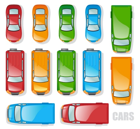 Cars and minibuses - the top view   Stock Vector - 9394278