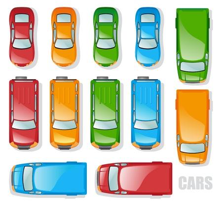 voiture parking: Voitures et minibus - la vue   Illustration