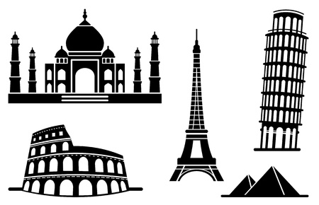 colosseo: Icone dei monumenti architettonici Vettoriali