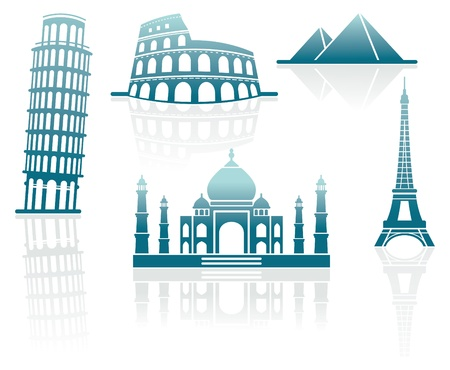 Icons of architectural monuments Vector