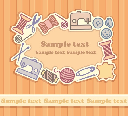 Sewing and needlework background Vector