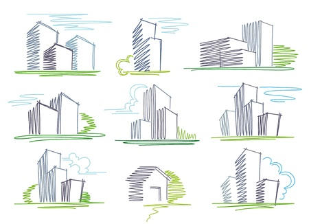Sketches of buildings Stock Vector - 9658715
