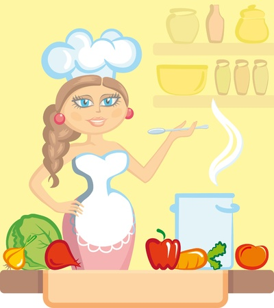 The woman the cook prepares vegetable soup Vector