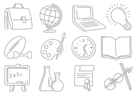 school icons: Doodles education end school icons Illustration
