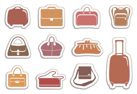 Bags and suitcases stickers 向量圖像