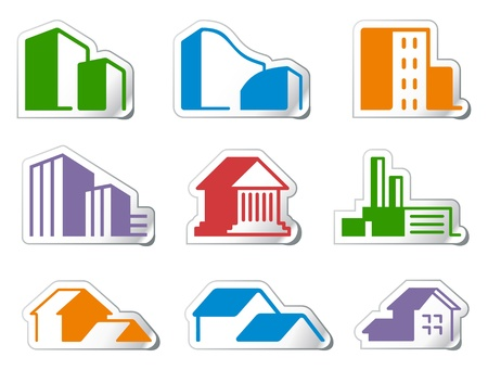 residential structures: Real estate symbols Illustration