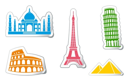 Stickers of architectural monuments Vector