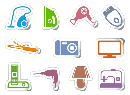Set of stickers home appliances Stock Vector - 10059476