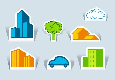 Symbols of buildings, tree and the car Vector