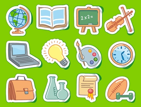 computer education: Education icons on stickers