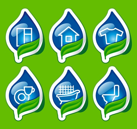 Symbols of cleaning and houseware on stickers Stock Vector - 10347365