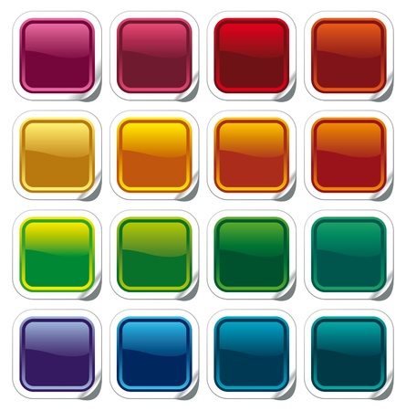 square buttons: Colour shining buttons on stickers Illustration