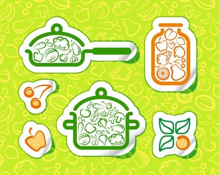 Symbols of preparation vegetarian food Vector