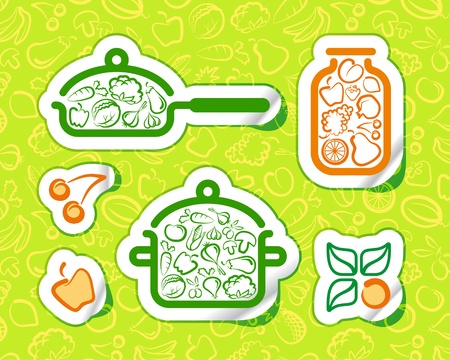 green vegetables: Symbols of preparation vegetarian food