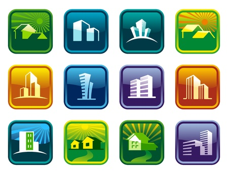 Shiny house icon collection Stock Vector - 10617830