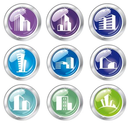 사무실 건물: 반짝이 집 아이콘 모음