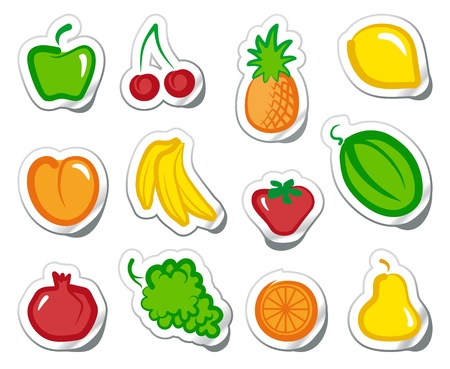 Fruit on stickers Vector