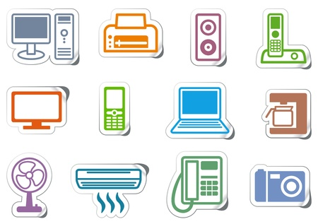 Icons of office equipment Illustration